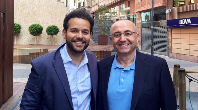 Sebastián Lora y Baldo Rodríguez en un descanso del curso para perder el miedo a hablar en púbico