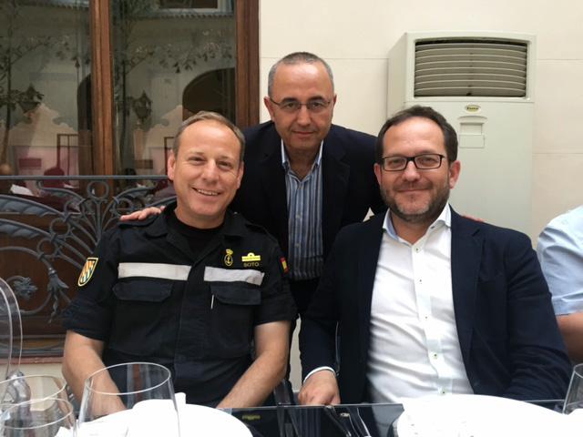 Aurelio Soto, Baldo Rodríguez y Manuel Durán, al finalizar las II Jornadas de Comunicación de Emergencias en Redes Sociales en la Región de Murcia