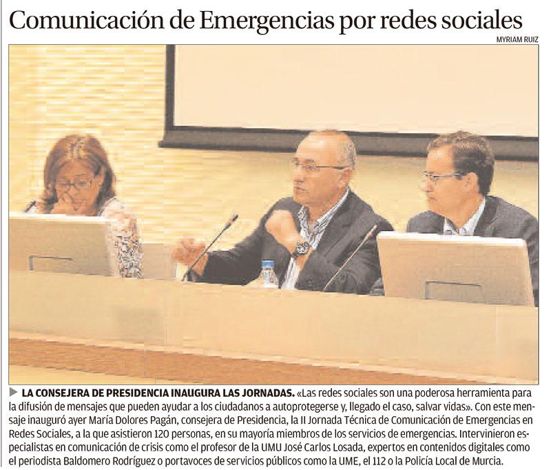 Noticia Emergencias en redes sociales en la Región de Murcia. La Opinión de Murcia