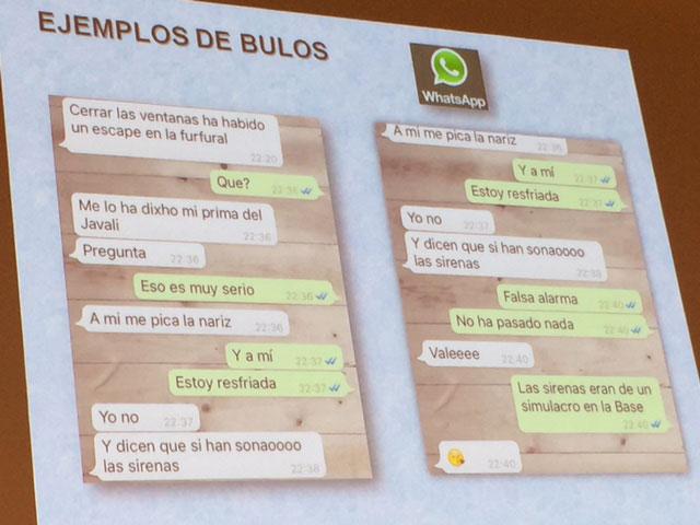 Diapositiva de bulos en Redes Sociales, durante las II Jornadas de Comunicación de Emergencias en Redes Sociales en la Región de Murcia