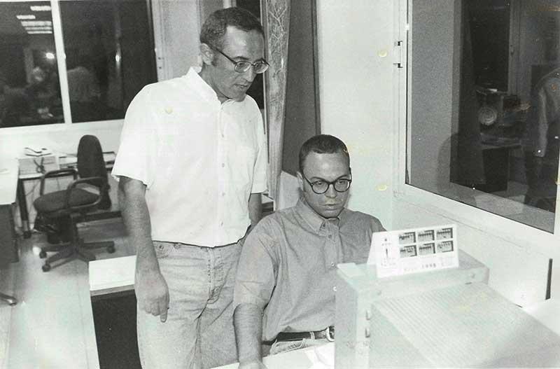 Con el periodista y escritor Jose Antequera en la antigua redacción de La Opinión de Murcia