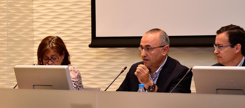 Ponentes de la primera mesa de debate en las II Jornadas de Emergencias en Redes Sociales en la Región de Murcia